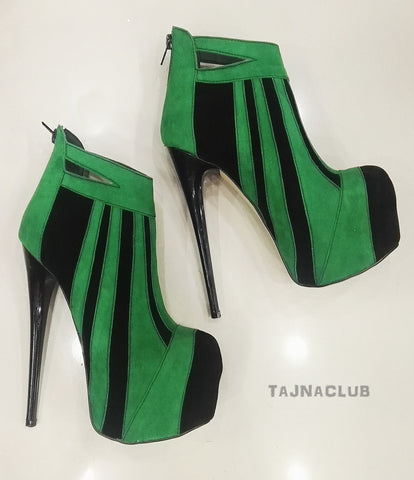 Green Zipper Back Platform Ankle Boots - Tajna Club