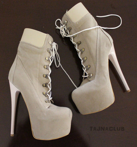 Timber Style Cream Lace Up Boots - Tajna Club