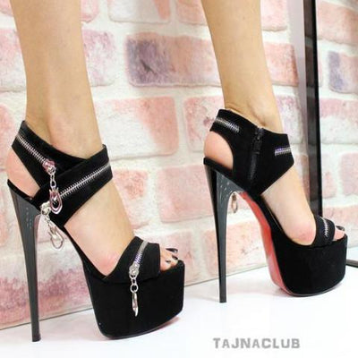 Black Zipper Detail Platforms - Tajna Club