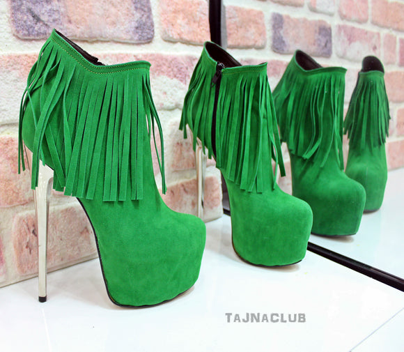 Green Fringed Platform Ankle Boots - Tajna Club
