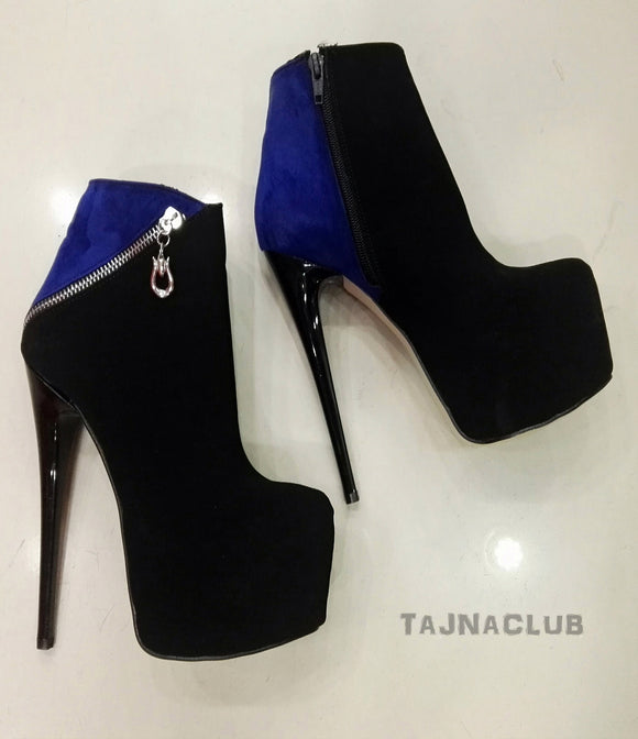 Blue & Black Side Zipper Platform Ankle Boots - Tajna Club