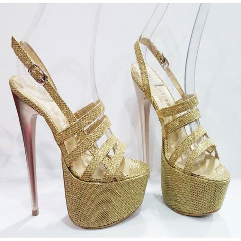Sparkling Gold Platform High Heel Sandals - Tajna Club