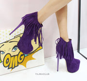 Purple Fringed Platform Ankle Boots - Tajna Club
