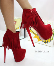 Red Fringed Platform Ankle Boots - Tajna Club