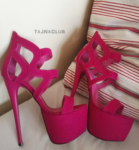 Cut Out Hot Pink Strapy Peep Toe Sandals - Tajna Club