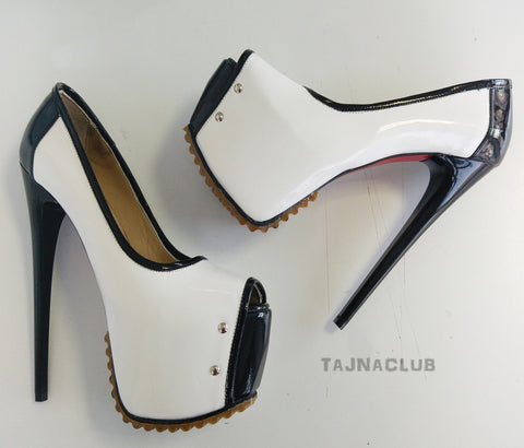 Black&White Serrated Sole Peep-Toe Platforms - Tajna Club