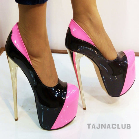 Black & Pink Patent Metallic Heel Platforms - Tajna Club