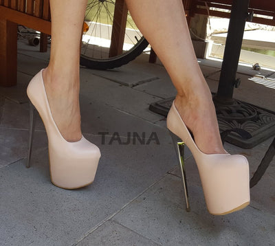 Cream 19 cm High Heel Platform Shoes - Tajna Club