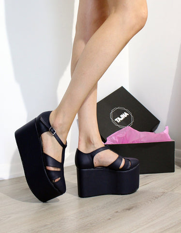 Black High Heel Wedge Sandals - Tajna Club