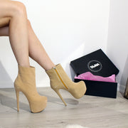 Cream Suede Ankle Platform Booties - Tajna Club
