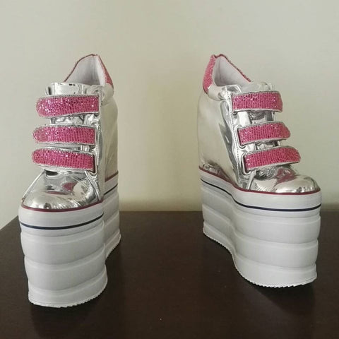 Silver Pink High Heel Wedge Casual Women Platform Shoes - Tajna Club