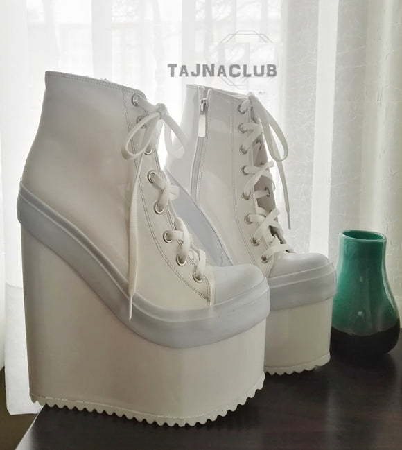 Super High Heel Convers Style Sneaker Wedges - White - Tajna Club