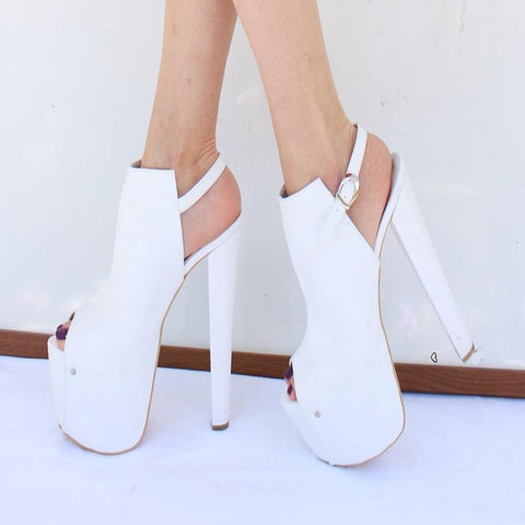 White Peep Toe Chunky High Heel Platform Shoes - Tajna Club