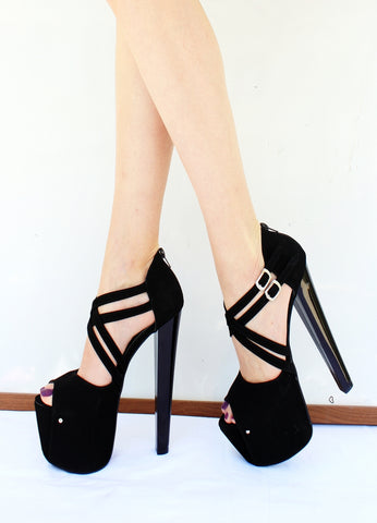 Cross Strap Black Heel Peep Toes - Tajna Club