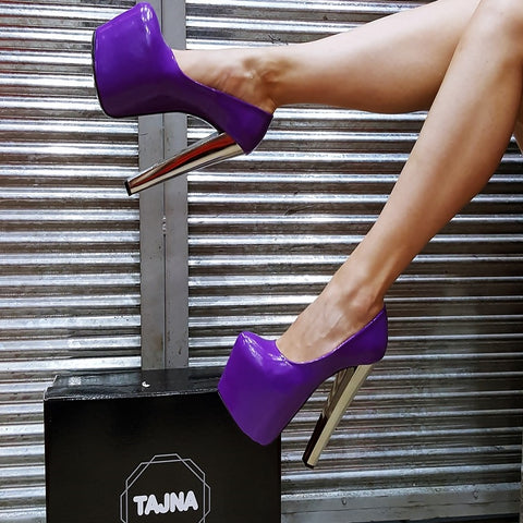 Purple  Patent Leather Platform Heels - Tajna Club