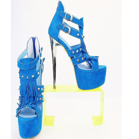 Light Blue Suede Fringe Sandal Platform Heels - Tajna Club