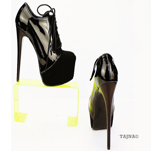 Black Suede Patent Leather Platform Booties - Tajna Club