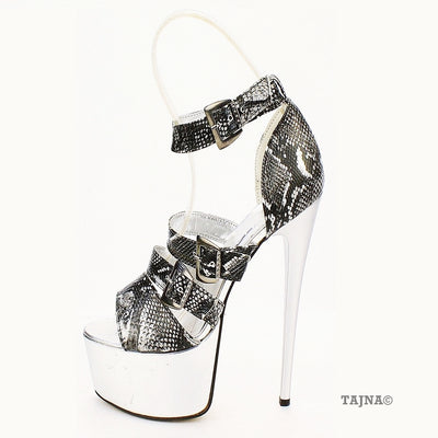 Belted Grey Croco Platform Shoes - Tajna Club