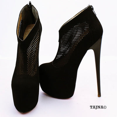 Black Faux Suede Fishnet High Platform Shoes - Tajna Club