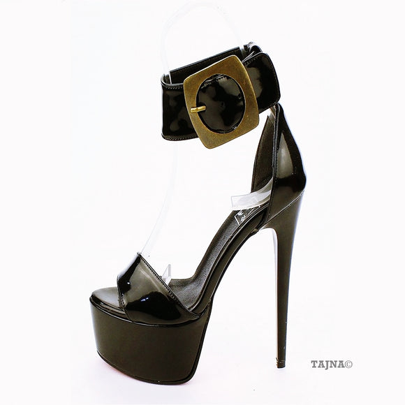 Ankle Strap Big Belted Black Patent Leather Platforms - Tajna Club