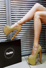 Golden Shiny Peep Toe Platform Heels 19-20 cm - Tajna Club