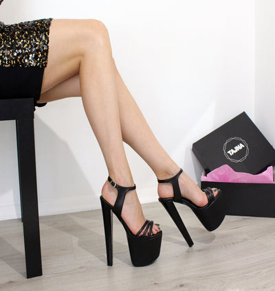 Black Strapped 19 cm Peep Toe Platforms - Tajna Club