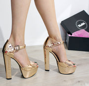 Golden Chunky High Heels - Tajna Club