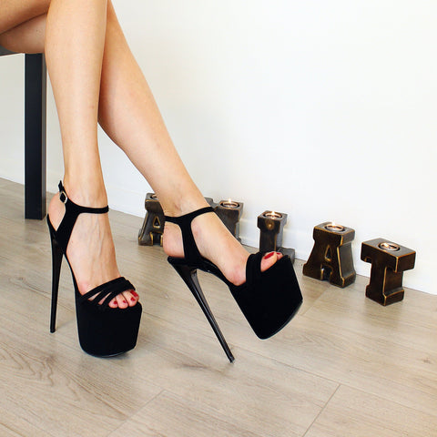 19 cm Black Suede Ankle Strap High Heels - Tajna Club