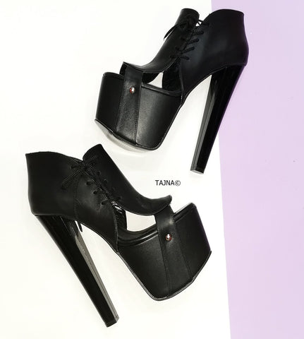 Designer Black Side Lace Ankle Platforms - Tajna Club
