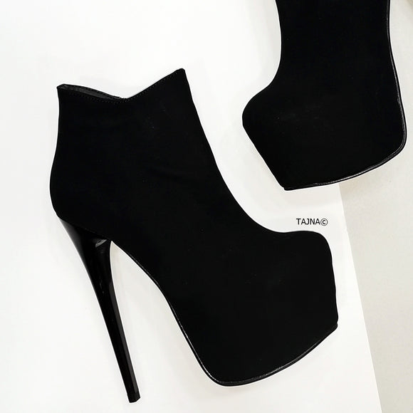 Black Suede Ankle Heeled Booties - Tajna Club