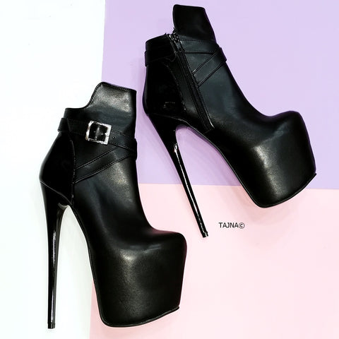 Black Matte Elegant Heeled Boots - Tajna Club