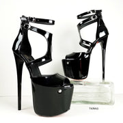 Black Patent Double Belted Ankle Heels - Tajna Club