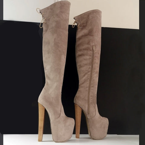 Beige Suede Chunky Heel Knee High Boots - Tajna Club