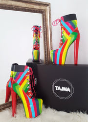 Rainbow Timber Style Lace Up Boots - Tajna Club