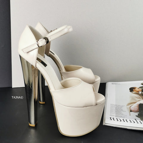 Cream Ankle Strap Chunky Metallic Heels - Tajna Club