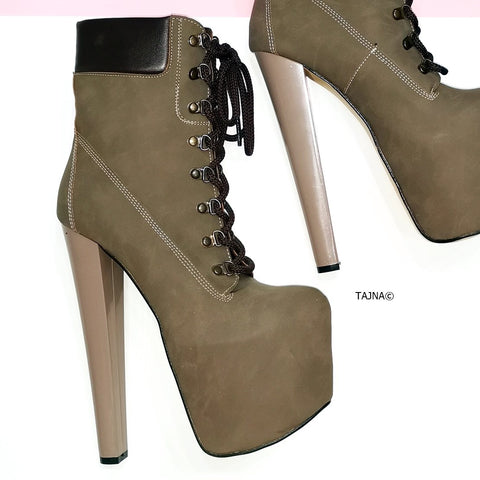 Dark Sand Lace Up Timber Platform Boots - Tajna Club