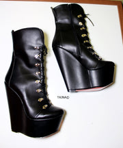 Lace Up Black Military Style Wedge Boots - Tajna Club