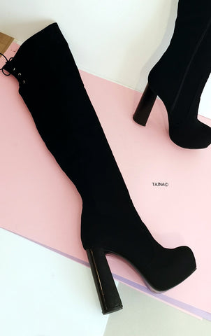 Black Suede Knee High 13 cm Chunky Heel Boots - Tajna Club