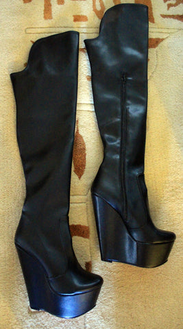 Knee High Black Wedge Boots - Tajna Club