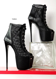 Fishnet Black Lace Up Ankle Heels - Tajna Club