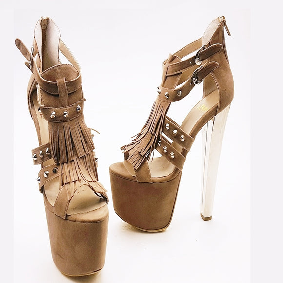 Beige Faux Suede Fringe High Heel Platform Shoes - Tajna Club