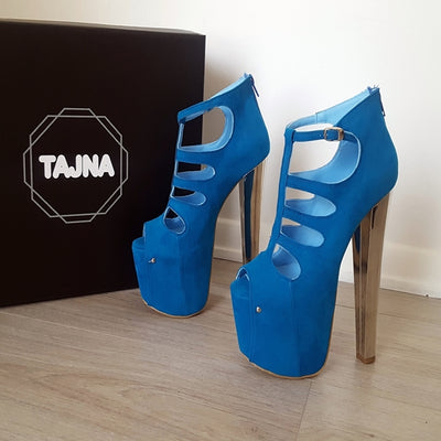 Blue Faux Suede High Heel Platform Shoes - Tajna Club