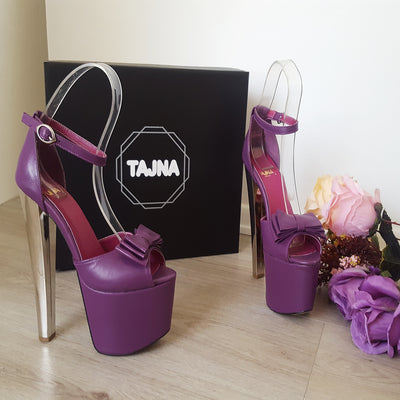 Purple Ribbon High Heel Platform Shoes - Tajna Club