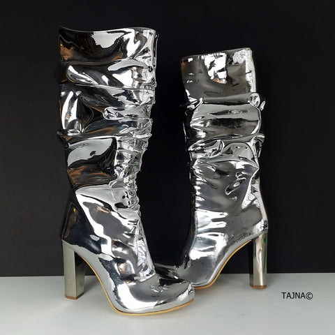 Silver Mirror Midcalf Boots - Tajna Club