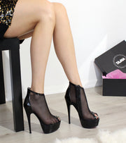 Black Fillet  Transparent Booties - Tajna Club