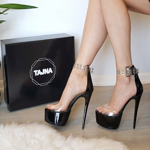 Black Patent Transparent High Heel Platform Sandals - Tajna Club