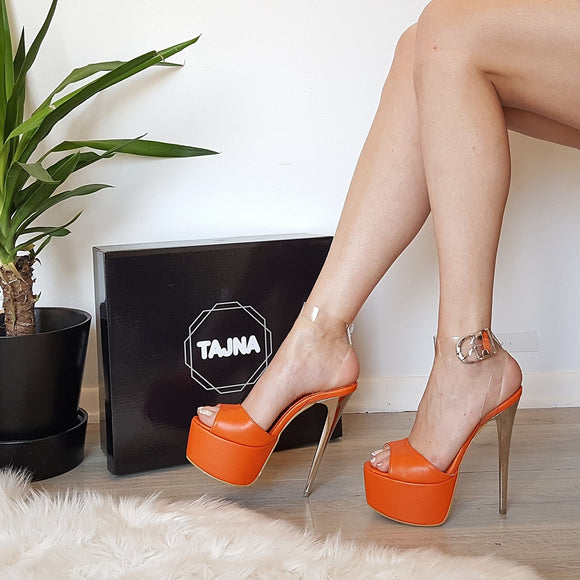 Orange Transparent High Heel Platform Sandals - Tajna Club