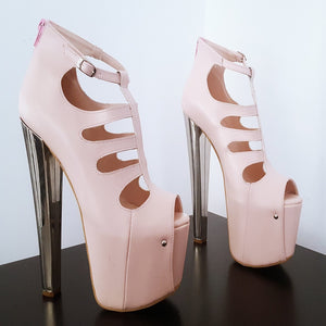 Light Pink Cage High Heel Platform Shoes - Tajna Club