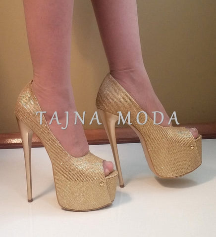 Golden Peep Toe Platform Pumps - Tajna Club