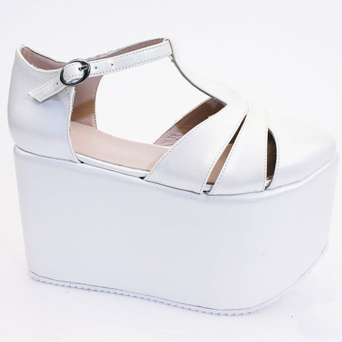Ivory White Wedge Platform Shoes - Tajna Club